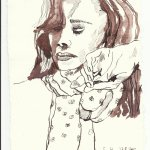 Der Schal Tusche auf Bütten 20 x 15 cm (c) Zeichnung von Susanne Haun