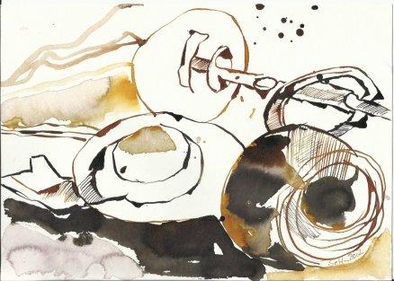 Die Auflösung der Schlüssel 17 x 22 cm Tusche auf Bütten (c) Zeichnung von Susanne Haun (2)