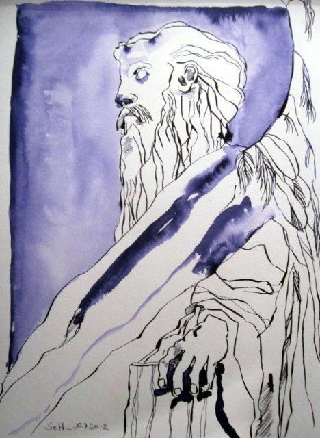Männlicher Engel 34 x 22 cm Tusche auf Bütten (c) Zeichnung von Susanne Haun
