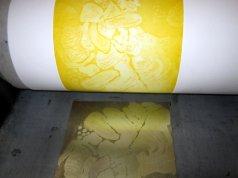 und noch näher an die Radierung Gerbera in gelb (c) Foto von Susanne Haun