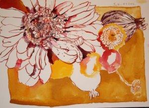 noch einmal bearbeitete Herbstblumen 24 x 32 cm Tusche auf Bütten (c) Zeichnung von Susanne Haun