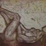 Akt liegend 15 x 20 cm Aquatinta von 2 Platten (c) Radierung von Susanne Haun
