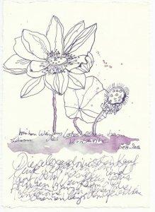 Blatt 22 trinken Wein aus Lotuskelchen (c) Zeichnung von Susanne Haun