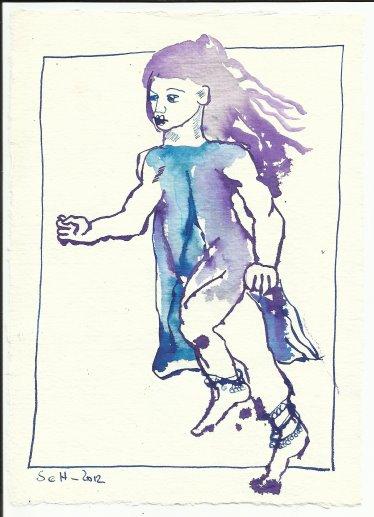 Blatt 9 Ein Stück des Weges lief sie mir nach (c) Zeichnung von Susanne Haun