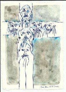 Die Gesichter des Kreuzes (c) Zeichnung von Susanne Haun