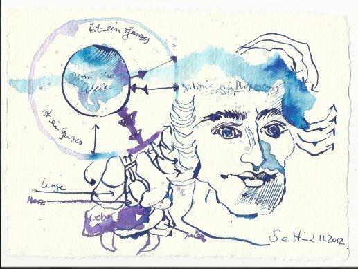 Ein Philosoph erklärt (c) Zeichnung von Susanne Haun