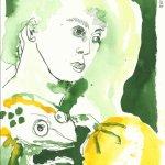 Der Froschkönig 22 x 17 cm Tusche auf Bütten (c) Zeichnung von Susanne Haun