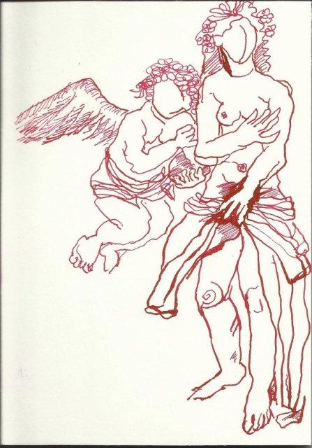 Entstehung Tarot Die Liebenden 18 x 13 cm (c) Zeichnung von Susanne Haun