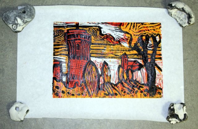 Die fertige Platte - die nasse Farbe reflektiert beim Fotografieren (c) Foto und Linolschnitt von Susanne Haun