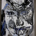 Zwischenstand Silvester Dämon (c) Zeichnung auf Leinwand von Susanne Haun
