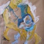 Mutter und Kind 100 x 70 cm (c) 2004 Skizze von Susanne Haun