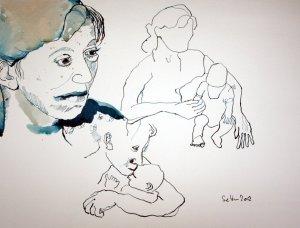 Mutter mit Kind Bewegungsstudie (c) von Susanne Haun