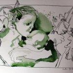 Mutter im grünen Rahmen 26 x 35 cm (c) Zeichnung von Susanne Haun