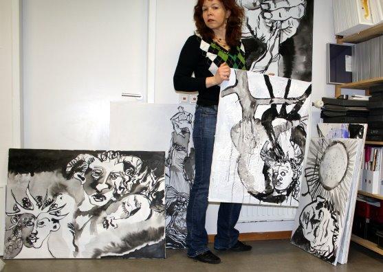 Größenvergleich - unten links Bild In der tiefsten Nacht 70 x 100 cm (c) Susanne Haun
