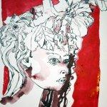 Primelfrau mit caput-mortuum 48 x 36 cm (c) Zeichnung von Susanne Haun