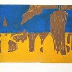 Eingeschmierte zweifarbige Linolplatte (c) Foto von Susanne Haun