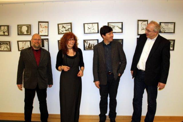 Übersetzer, Zeichnerin, Dichter und Verleger - Dr. Peter Busse, Susanne Haun, Dr. Diarmuid Johnson, Daniel Büchner (c) Foto von Mandy