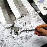 Ich beschliesse einige Partien des Gesichts weiß zu höhen (c) Leinwand von Susanne Haun