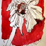 Verwelkte Primel 31 x 23 cm Tusche auf Bütten (c) Zeichnung von Susanne Haun