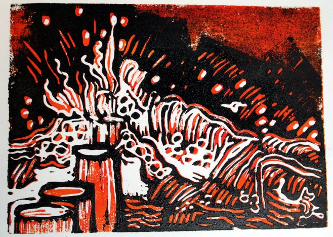 Wasser rot schwarz - Blatt 7 (c) Linolschnitt von Susanne Haun