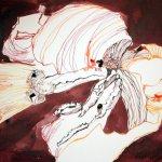 Rote Tulpe Vers. 2 Tusche auf Bütten 26 x 36 cm (c) Zeichnung von Susanne Haun