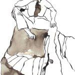 Sie sitzen nicht am Rand der Klippe 17 x 22 cm Tusche auf Bütten 2011 (c) Zeichnung von Susanne Haun