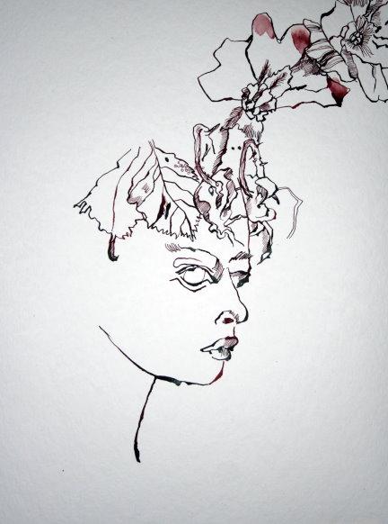 Entstehung Primelfrau mit  caput-mortuum 48 x 36 cm (c) Zeichnung von Susanne Haun