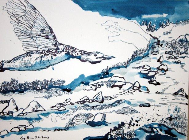 Entstehung der Wilde Fluss (c) Zeichnung von Susanne Haun