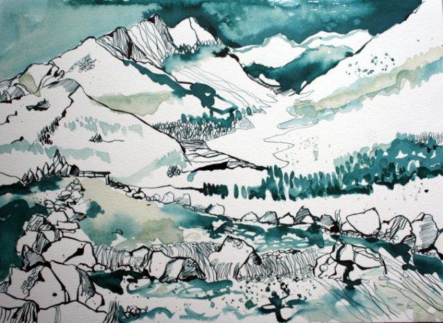 Landschaft in blau (c) Zeichnung von Susanne Haun klein