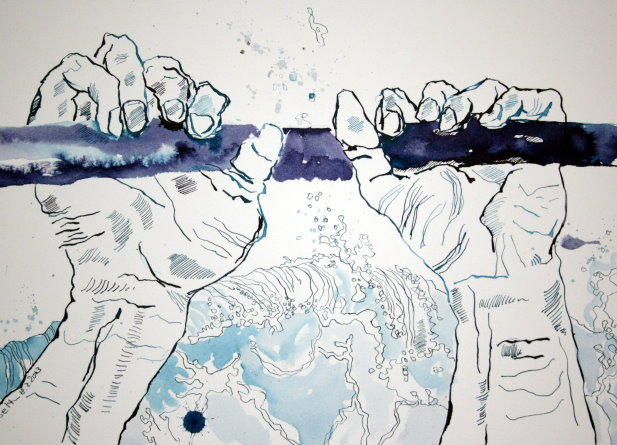 An dem umlaufenden Geländer krampfhaft festhalten (c) Zeichnung von Susanne Haun