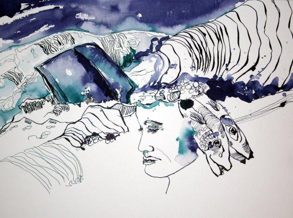 Entstehung Wellenhexe - 30 x 40 cm - Tusche auf Bütten (c) Zeichnung von Susanne Haun