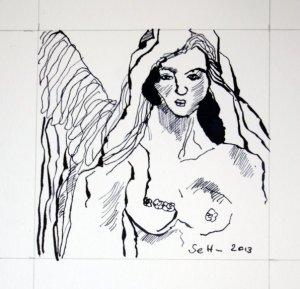 3 Zwischen Erdentochter und den Engel (c) Zeichnung von Susanne Haun