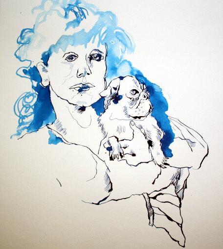 Hedwig Dohm mit Mops (c) Zeichnung von Susanne Haun