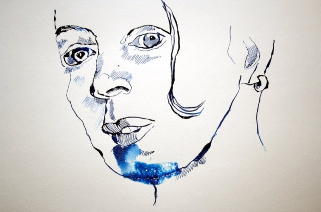 Selbstportrait (c) Zeichnung auf der Rolle
