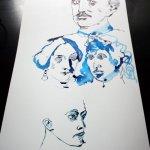 Lassalle und drei seiner Frauen (c) Zeichnung von Susanne Haun