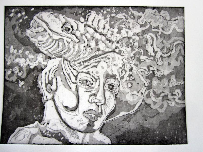 Wellenhexe Aquatinta Radierung - 15 x 20 cm - 1. Andruck (c) Radierung von Susanne Haun