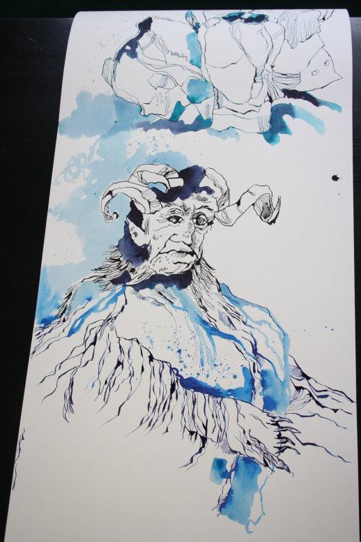 Der Körper des Gruselwesens (c) Zeichnung ovn Susanne Haun