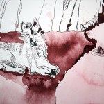 Detail Wolf - Ich stürze in den Abgrund - 65 x 50 cm (c) Zeichnung von Susanne Haun