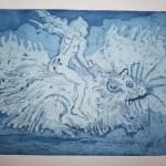 Ratten und Frauen verlassen das sinkende Schiff - Version 1 (c) Radierung von Susanne
