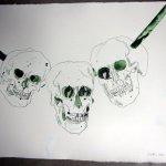 Eine Kette aus Totenschädeln (c) Zeichnung von Susanne Haun
