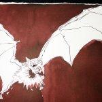 Detail Fledermaus - Ich stürze in den Abgrund - 65 x 50 cm (c) Zeichnung von Susanne Haun