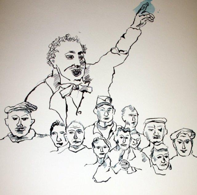 Version 4 Lassalle als Redner (c) Zeichnung von Susanne Haun