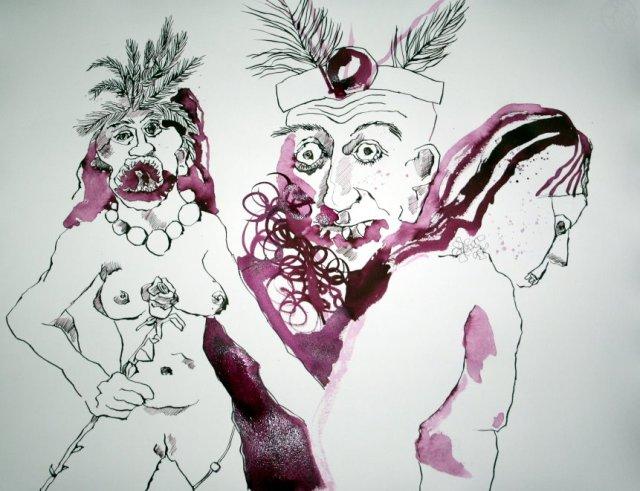 Götzen Version 1 - 65 x 50 cm (c) Zichnung von Susanne Haun