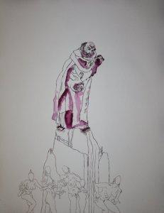 Enstehung Version 2 -  Ich stürze in den Abgrund - 65 x 50 cm  (c) Zeichnung von Susanne Haun
