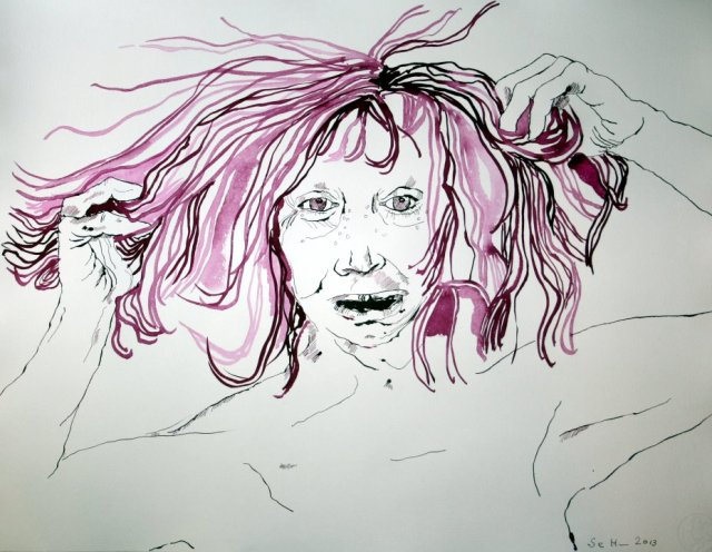 Sie raufte sich die Haare 65 x 50 cm (c) Zeichnung von Susanne Haun