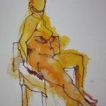 Gelber sitzender Akt - 40 x 30 cm - Version 1 (c) Zeichnung von Susanne Haun