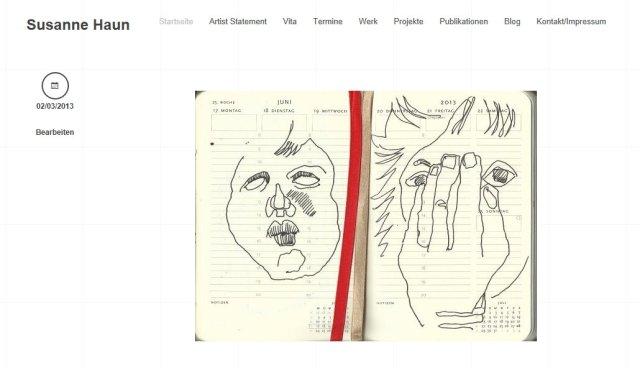 Vorschaue erste Seite Susanne Haun mit WordPress