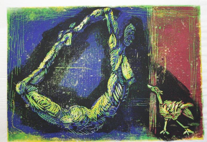 Figuren Version 2(c) Linolschnitt von Susanne Haun