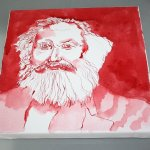 Mein Sinnbild von Karl Marx auf Leinwand (c) Zeichnung von Susanne Haun
