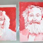 Meine Sinnbilder von Karl Marx im Vergleich (c) Zeichnung von Susanne Haun